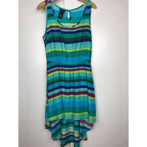 Striped High Low Sleeveless Dress Medium